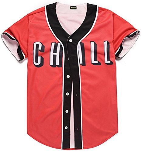 - PIZOFF Short Sleeve Arc Bottom Baseball Team Jersey 3D All Over Red Contrast Print Basketball Shirt Y1724-50-M