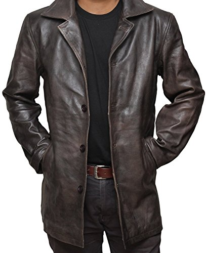 Brown Distressed Supernatural Real Leather Jacket (2XL, Antique Brown)