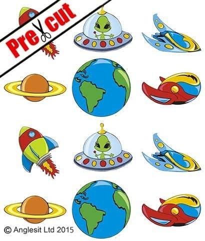 24 Alien Aliens Space Wafer Rice Cupcake Topper Edible Fairy Cake Bun Toppers