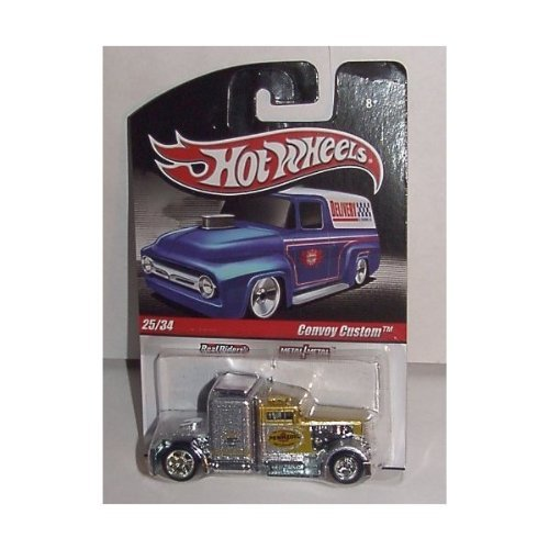 HOT WHEELS DELIVERY SLICK RIDES SILVER & GOLD CONVOY CUSTOM BIG RIG SEMI TRUCK. METAL BODY & REAL RIDER TIRES. #25 OF 34