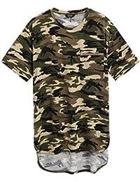 Mens Hipster Hip Hop Aztec Graphic Print Longline T-Shirt Stylish Designs V Neck Tee Shirt