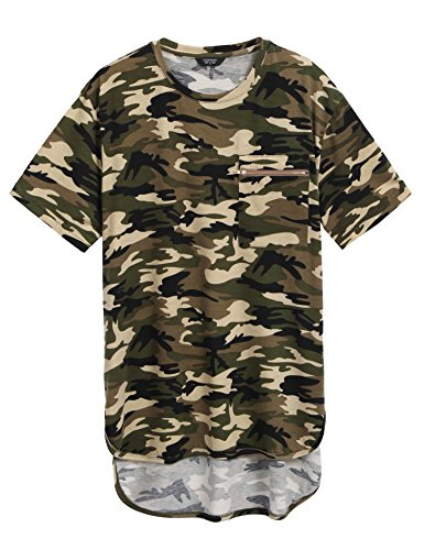 COOFANDY Mens Summer Hipster Hip Hop Camo-Camouflage T Shirts Longline Tee With Zipper Pocket, Brown Camo, Small