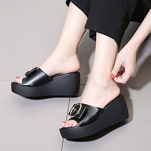 Römische EU39 Zehe Schuhabschnitte CN40 Untere Sandalen CM Dicke 5 Fliege Weiß 7 Schwarz Sommer UK6 Größe 5 Damenmode Offene Farbe ZHIRONG qzawanpx