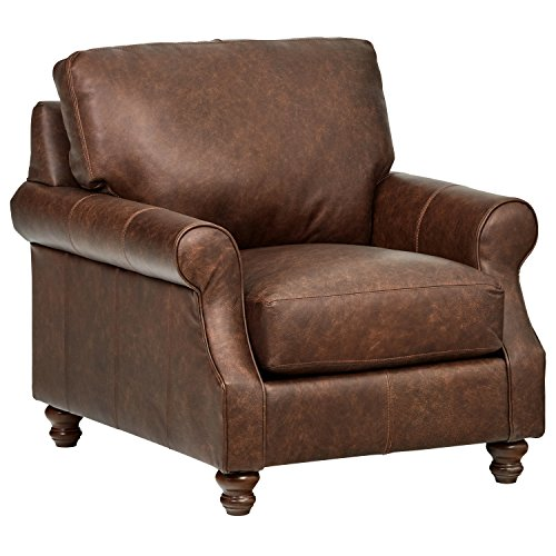 "Stone & Beam Charles Classic Oversized Leather Accent Arm Chair, 39""W, Sod"