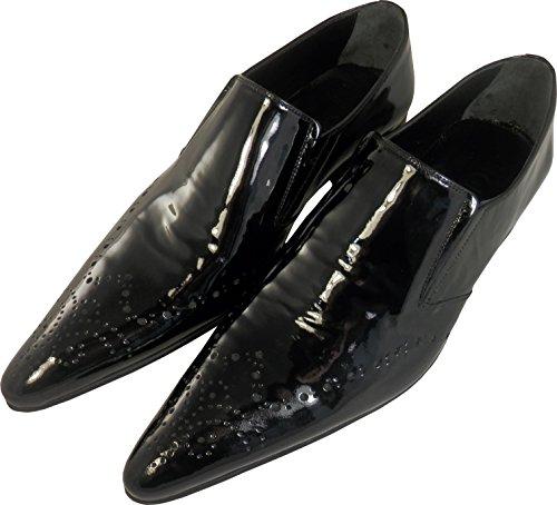 Original Chelsy - Italienischer Designer Slipper mit Lochmuster in schwarz glänzend Herren