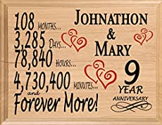 Modern traditional 9th wedding anniversary gifts for women men broad bay 9th anniversary gift personalized 9 year anniversary wedding gift for wife husband couple him her negle Choice Image