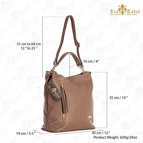 Twin GWEN Deep Taupe Handles Genuine Italian Leather Womens Top Shopper Handbag Shoulder LIATALIA Hobo Handle 4qw7FInnR