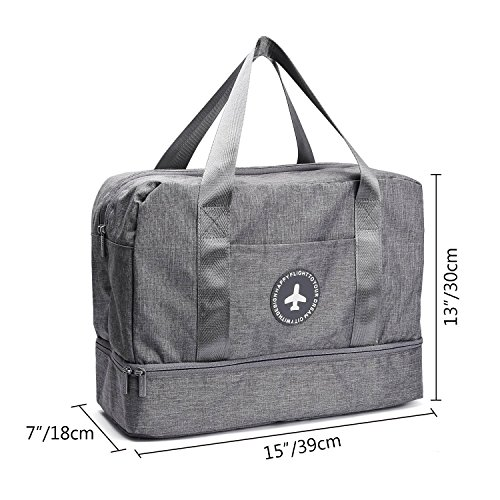 Waterproof Swimming Bag, XL Dry Wet Depart Beach Tote Bag, Portable Travel Beach Pouch Grey Shoes Organizer Suit for Outdoor Swimsuit Surfing Bathing by Noverlife (Image #3)