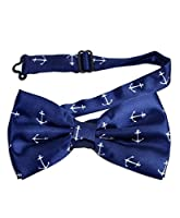 Navy Blue Adjustable Bow Tie with White Sailor Anchor Print