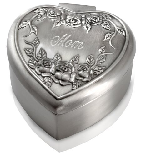 Rose Remembrance Box - Memorial Gallery Small Heart Shaped Antiqued Pewter Jewelry Box (Roses Remembrance Heart, Engraved)