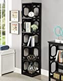 Convenience Concepts Omega 5-Tier Corner Bookcase, Black For Sale