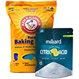 Milliard Arm & Hammer Baking Soda - 13½ lb. bag 100% Pure Food Grade Citric Acid - 5 lb. bag for pool pH adjustment and alkalinity - Pool Stabilizer Variety Pack