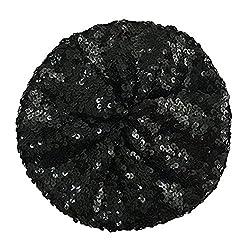 A1-Black Sequin Beret Beanie Hat