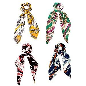 4 Pack Printed Rose Knot Headband Hair Band Fashion Headdress Cross Hood for Women
