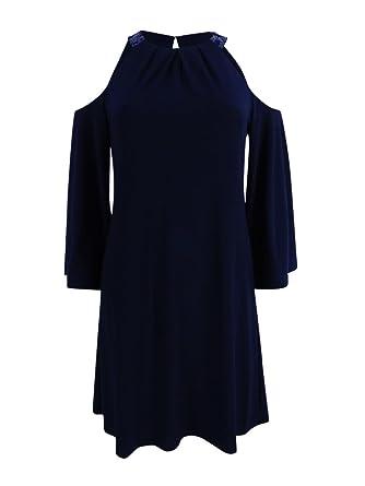 63ac45c30ac Lauren by Ralph Lauren Women s Sequin Trim Cold Shoulder Jersey Dress (16