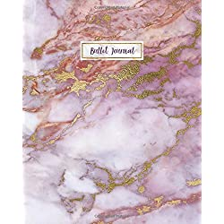 Bullet Journal: Rose Gold Marble Violet Agate, 160 Dot Grid Pages, 8 x 10 Blank Bullet Journal Notebook with 1/4 inch Dotted Paper, Perfect Bound Softcover