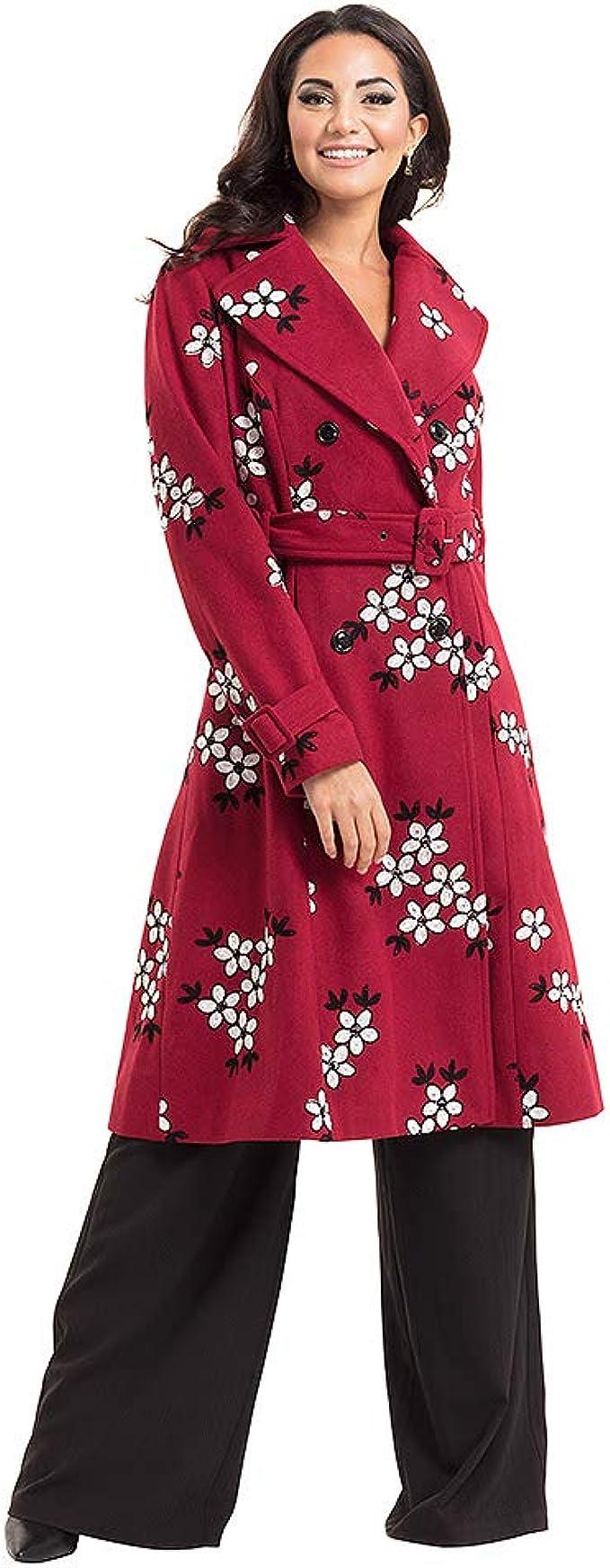 Voodoo Vixen Womens Marjorie Floral Coat Burgundy