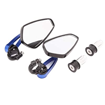 Blue Universal Motorcycle Mirrors Bar End Side Mirror for Honda Scooter Suzuki Yamaha Kawasaki Victory: Automotive
