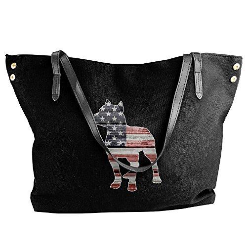 - SW98Q98 Patriotic Pitbull American Flag Women's Recreation Shoulder Bag Canvas Handbag for Work Handbag