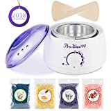 Hair Removal Wax Cream - Wax Warmer Hair Removal Kit Electric Wax Melter Hot Wax Warmer Brazilian Wax Kit with 4 Different Flavors Wax Beans and 10 Wax Applicator Sticks for Women and Men