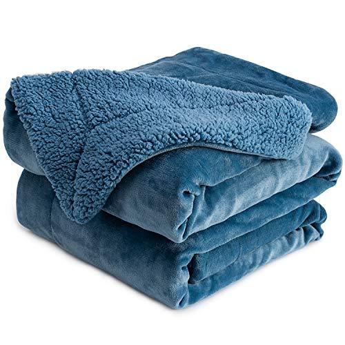 Anjee Sherpa Fleece Decke, doppelseitige superweiche Wendebett- und Couchdecke, warme und leichte Dekoration Decke, Schieferblau 230 x 230 cm