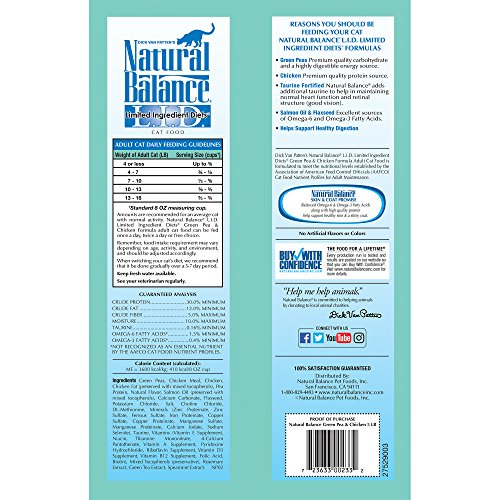 Natural Balance L.I.D. Limited Ingredient Diets Dry Cat Food, Grain Free, Green Pea & Chicken Formula, 5-Pound