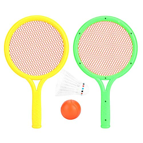 Dilwe Tennis Racket Set, Lightweight Safe Baby Tennis Racket Set Racquet Play Game Toy Set with Round Ball and Badminton for Beach Lawn Backyard Play