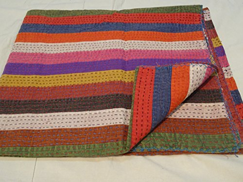 Tribal Asian Textiles Handmade Pure Cotton Bedspread Queen Size Quilt Patchwork Kantha Stitch Kantha Quilt Indian Bed Cover Reversible Throw Quilt