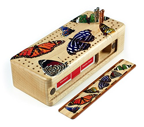 Butterfly - Colorful Butterflies Wooden Cribbage Board with Quality Metal Pegs