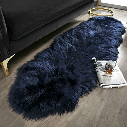 Ashler Soft Faux Sheepskin Fur Chair Couch Cover Navy Blue Area Rug for Bedroom Floor Sofa Living Room 2 x 6 Feet for $<!--$19.99-->