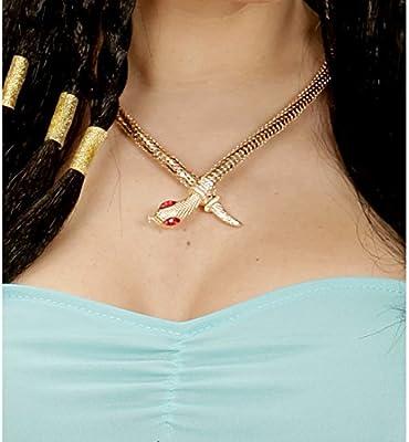 NET TOYS Collar Egipcio Cadena Dorada Cleopatra Gargantilla de Serpiente faraón Collar de Serpiente Reina Joyas egipcia Accesorio Disfraz Diosa Antigua: Amazon.es: Juguetes y juegos