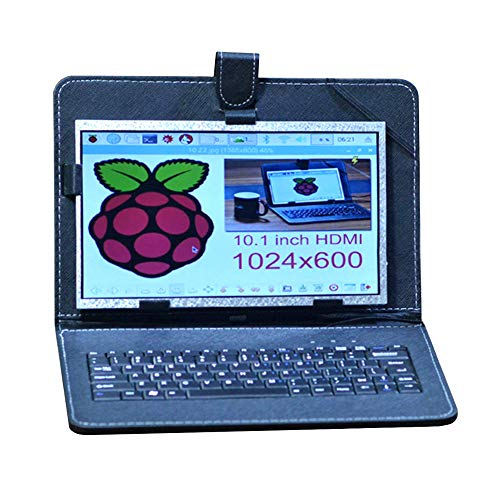 (Allpartz 10.1 inch HDMI Display Screen High Resolution LCD Screen for Raspberry Pi 3B+/3B/2B+/2B with USB Leather Case)