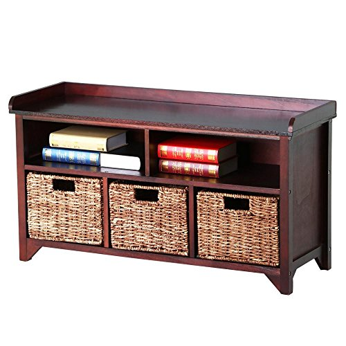 Yaheetech Antique Wood Storage Bench/Cabinet Unit with 3 Rattan Baskets and 2 Cubbies in Walnut Finish