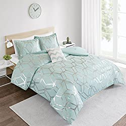 Comforter Set Twin Bedding Set - Vivian 3 Piece Aqua Blue/Silver - Geometric Metallic Print - Hypoallergenic Soft Microfiber Lightweight All Season Twin Comforter - Fits Twin/Twin XL