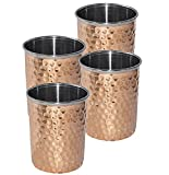 Kuber Industries Hammered Copper Drinking Glass/Tumbler in Inner Stainless Steel Material- Set of 4 Pcs 260 ML Each Ayurvedic Health benefit Drinkware (COPS18)