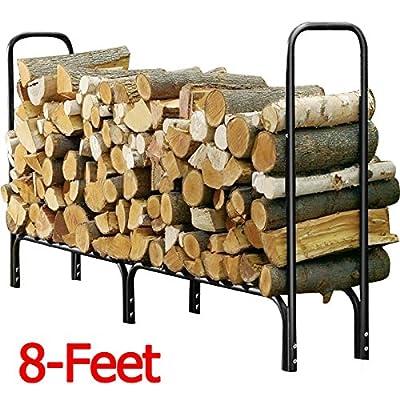 Yaheetech Outdoor Log Rackteel Firewood Storage Holder Black, 8-feet
