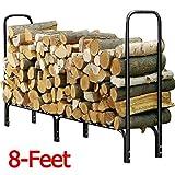 Topeakmart 8' Firewood Log Rack Large Wood Storage Holder Heavy Duty Metal Rack