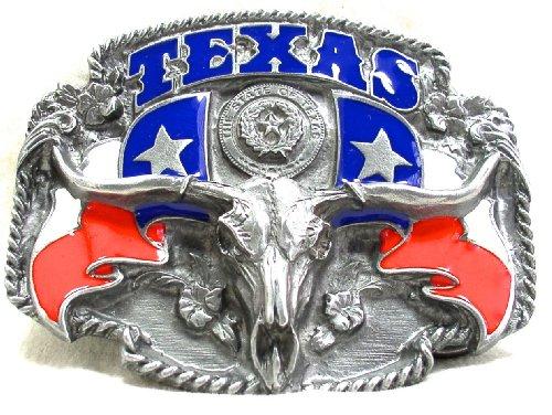 Texas State 3-D Enamel Pewter Belt Buckle (Enamel Pewter Belt Buckle)