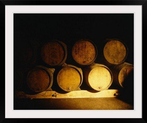 greatBIGcanvas Barrels in a cellar, Chateau Pavie, St. Emilion, Bordeaux, France Photographic Print with Black Frame, 36