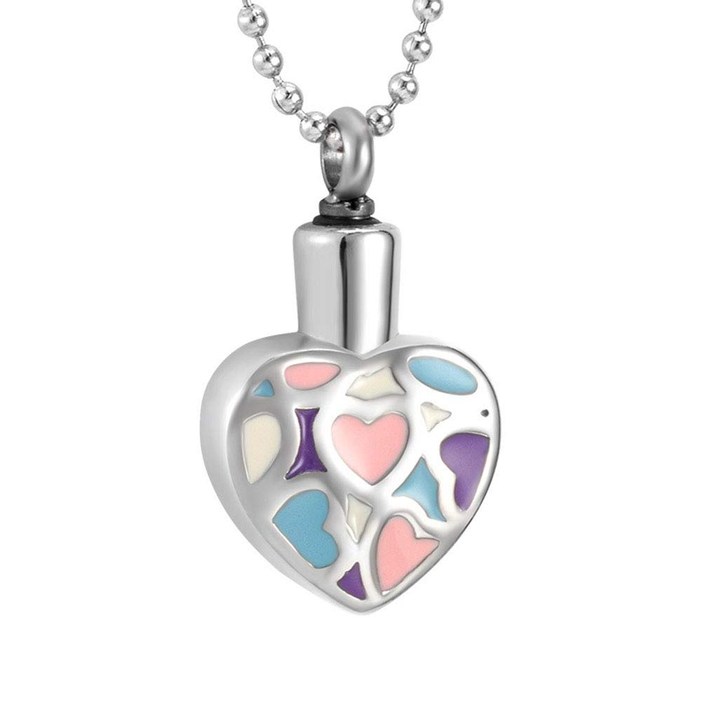 6 MultiPattern Round Titanium Steel Stainless Steel Ashes Necklace color Pendant Casket pet Memorial Necklace urn