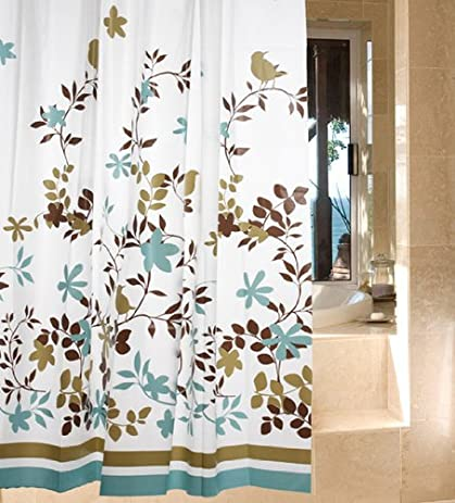 Dgi mart fans casual curtains vine birds leaves flowers garden style peva waterproof shower curtains nice
