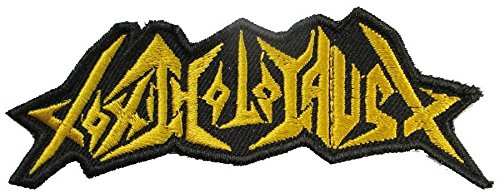 Toxic Holocaust Gold Logo 10X4 Cm. Music Songs Heavy Metal Punk Rock Band Logo L-W T-Shirts Sew On Patches Badge (Flowers To Give After A Death)