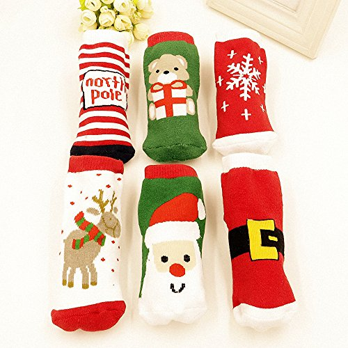 Cheap Fairy Baby 6 Pack Winter Cotton Baby Socks Unisex Christmas Gift,Fit 1-3 Year