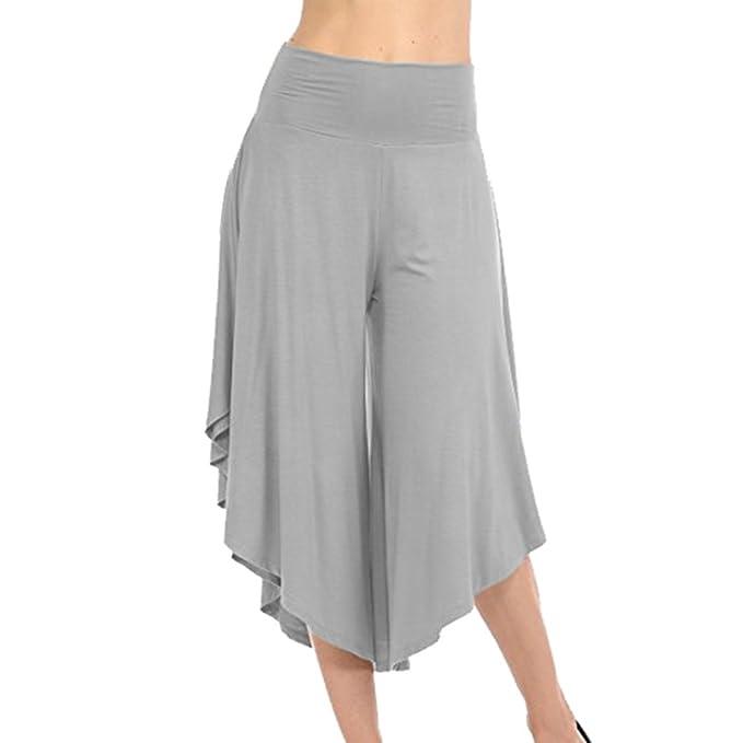 UK Womens Plain Elastic Waist Casual Palazzo Trousers Summer Loose Capri Pants