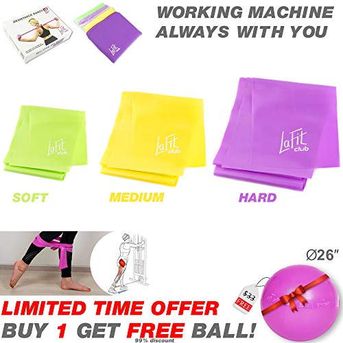 LAFIT CLUB Resistance Exercise Workout Bands & Free Fit Ball - 3 Resistance Bands Set - Physical Therapy Bands - Stretch Bands - Yoga Gym Leg Resistance Bands - Exercise Resistance Bands for Women