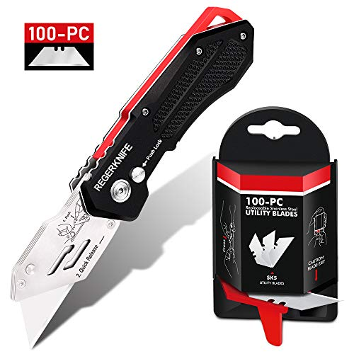 Folding Utility Knife with SK5 Blades 100Pack, RegerKnife Heavy Duty Box Cutters Carpet Knife with Pocket Clip, Lock-Back, Quick Change Blades for Cutting Carton, Leather, Aluminum, PVC Sheet, Fabric