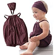 Matoen 2PCS/Set Toddler Kid Baby Girls Dots Romper+Headband Clothes Outfit (0-6 Months)