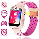 Kids Smartwatch,Touch Kids GPS Tracker Smart Watch with Camera SIM Calls Anti-lost SOS Wrist Watch for Children Girls Boys Birthday Gifts(pink)