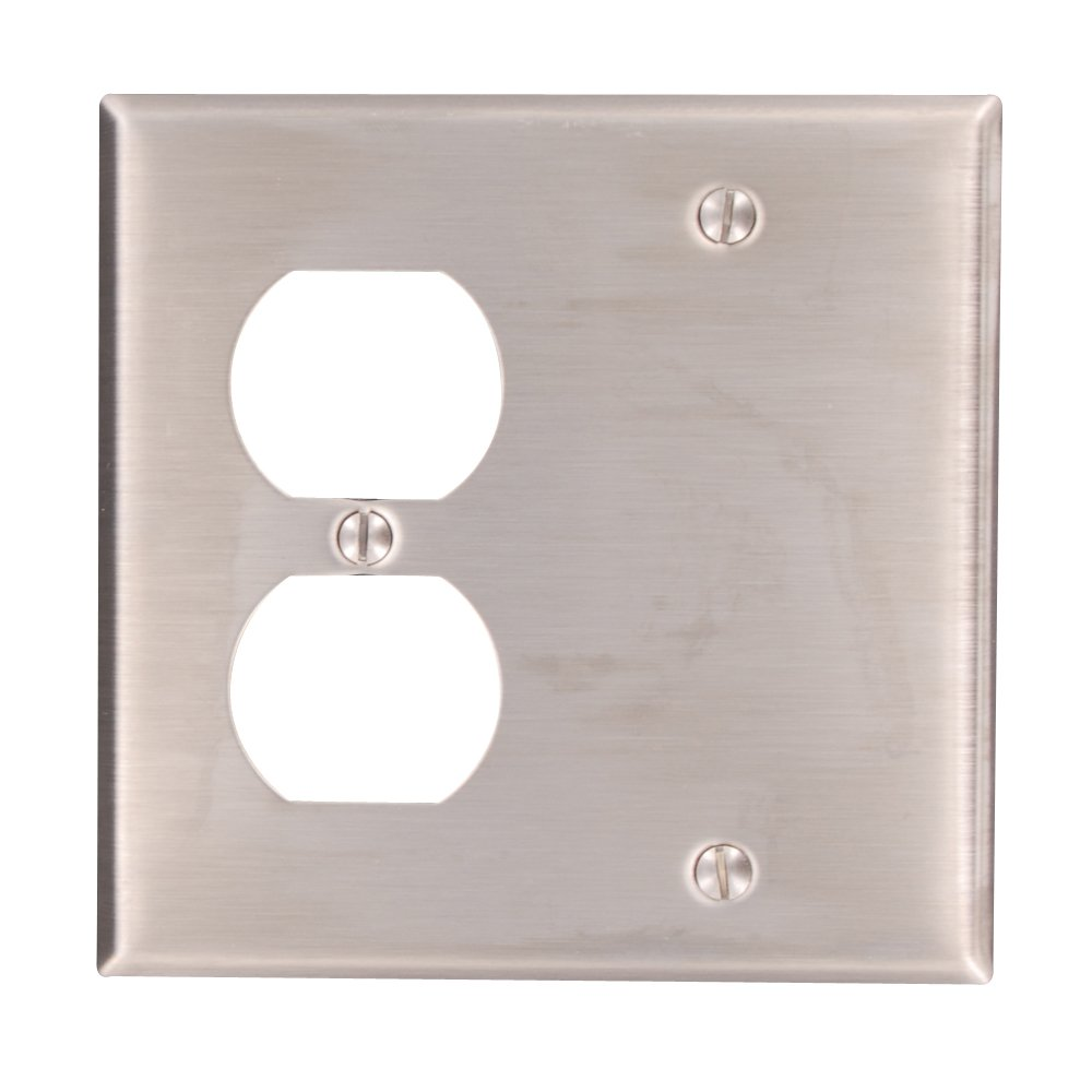 Leviton 84008-40 2-Gang 1-Duplex 1-Blank Device Combination Wallplate, Box Mount, Stainless Steel