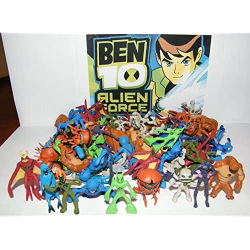 Ben 10 aliens amazon ben 10 alien force mega set playset of 50 alien toy figures party favors with bonus ben 10 figure and wristband voltagebd Gallery